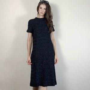 1960s sliver knit T-shirt evening dress.